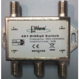 DISEQC SWITCH TV SAT SATELLITE FREE WAVE 4X1 DISEQC