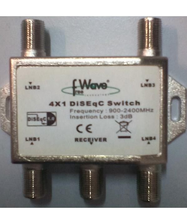 DISEQC SWITCH TV SAT SATELLITE FREE WAVE 4X1 DISEQC